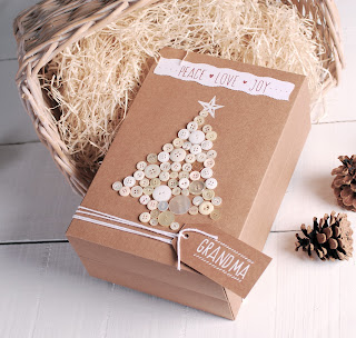 decoración navideña kraft botones self packaging caja cajita