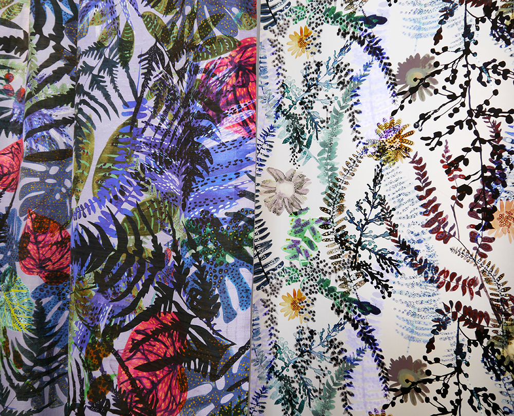 DJCAD, Duncan of Jordanstone College of Art and Design, degree show, Dundee, degree show 2015, #djcaddegreeshow, #djcaddegreeshow15, textile design, printed fabric, interior fabrics, wallpaper, floral, Emma McCluskey