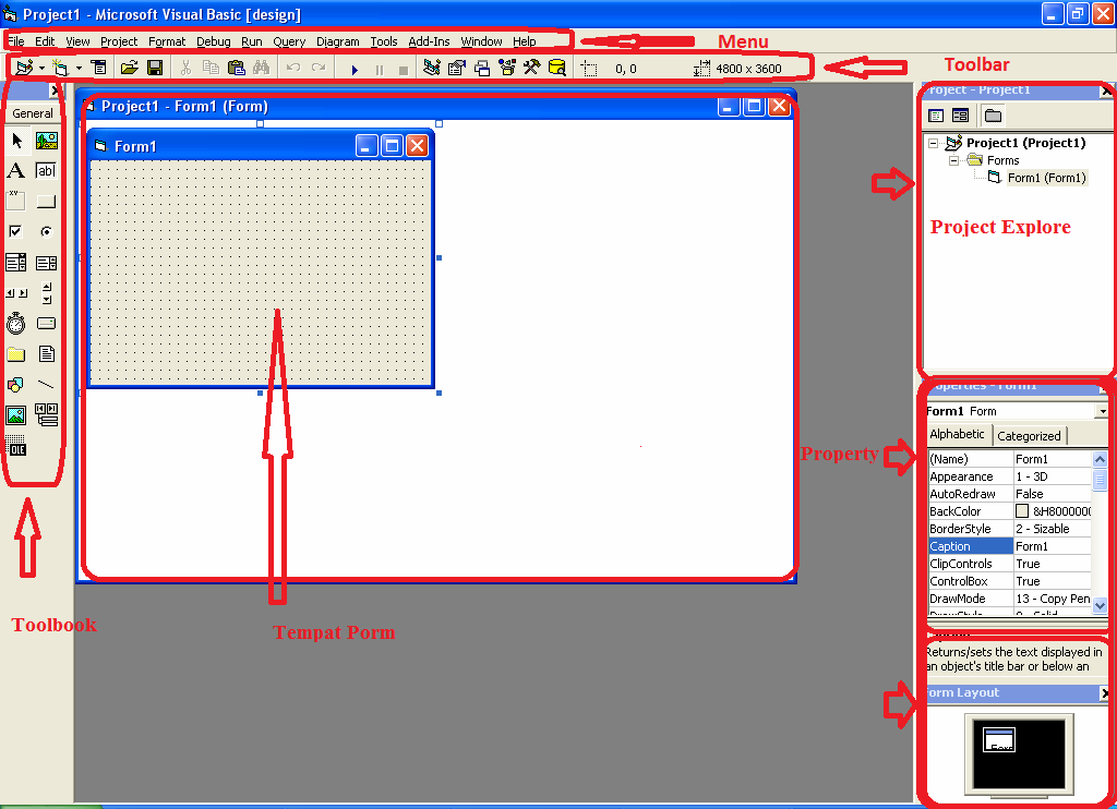 Sebelum kita  dengan memakai software visual basic  antarmuka visual basic 6.0