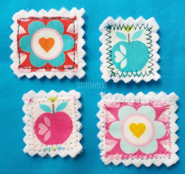stitchydoo: Stoffkartentausch | Briefmarken aus Stoff