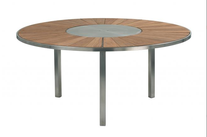 The O Zon Table With Lazy Susan From Royal Botania Is 70% Off. Original  Price $9497. Now $2843.70.