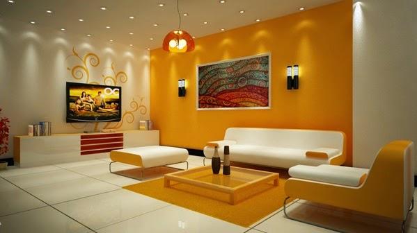 d corations salons en orange et blanc d coration salon d cor de salon. Black Bedroom Furniture Sets. Home Design Ideas