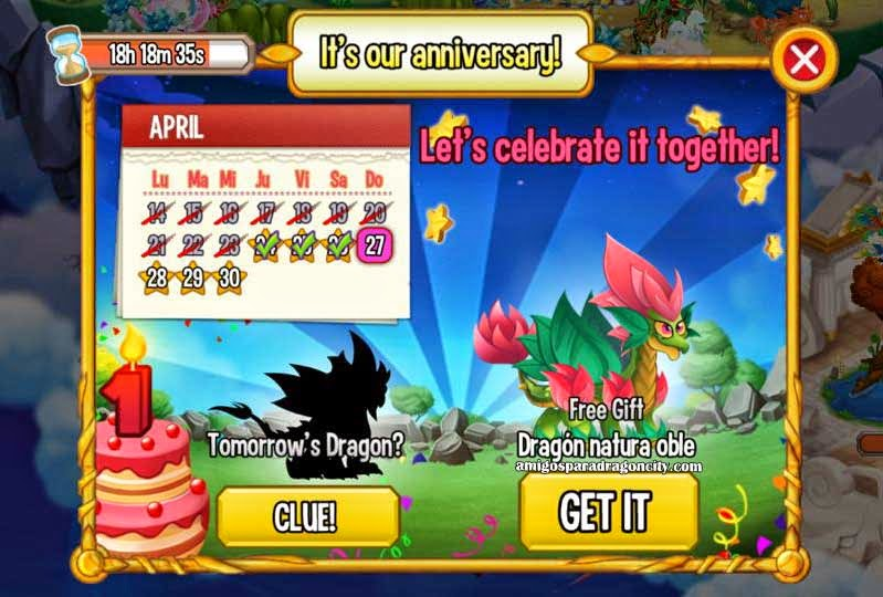 imagen del calendario de aniversario de dragon natura doble de dragon city ios