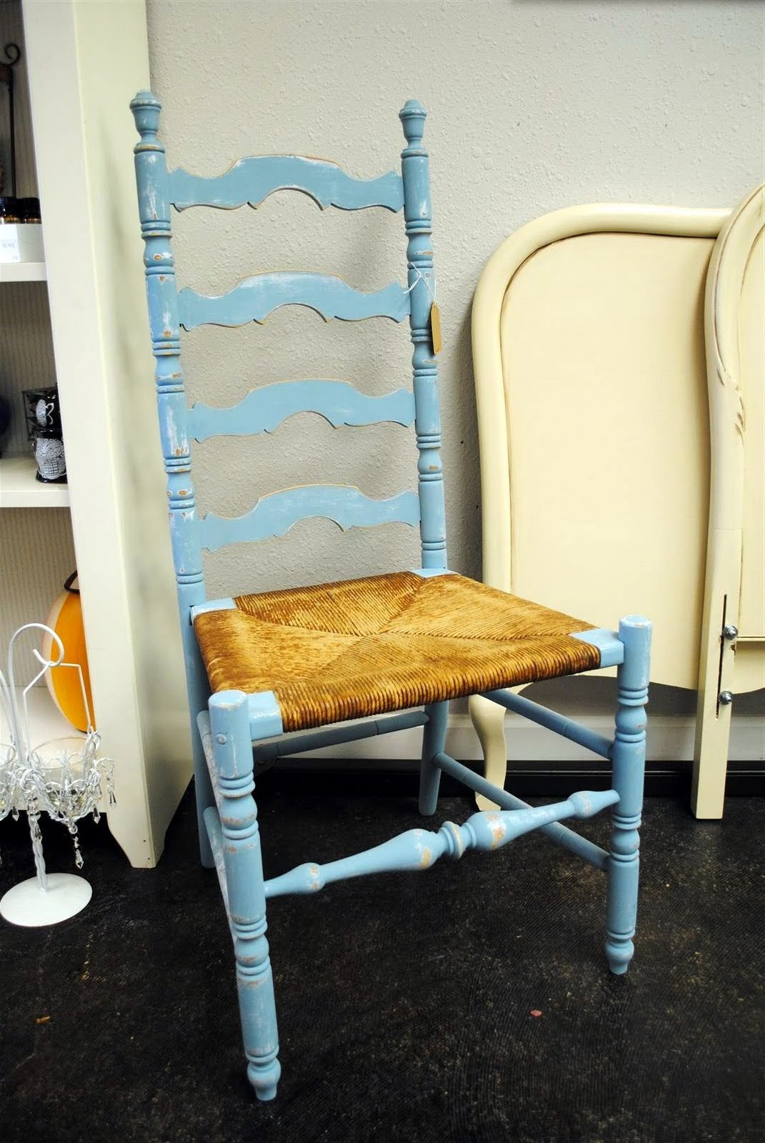 Painted ladder back chairs - I Primed It Then Painted It With A Nice Flat Blue Mistint Paint That Distressed Really Well