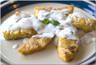 Grilled Pineapple with Basil-Tarragon Cream