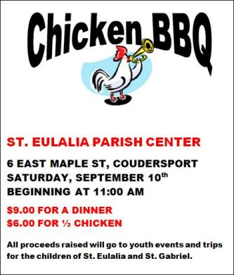 9-10 Chicken BBQ St. Eulalia Parish Center
