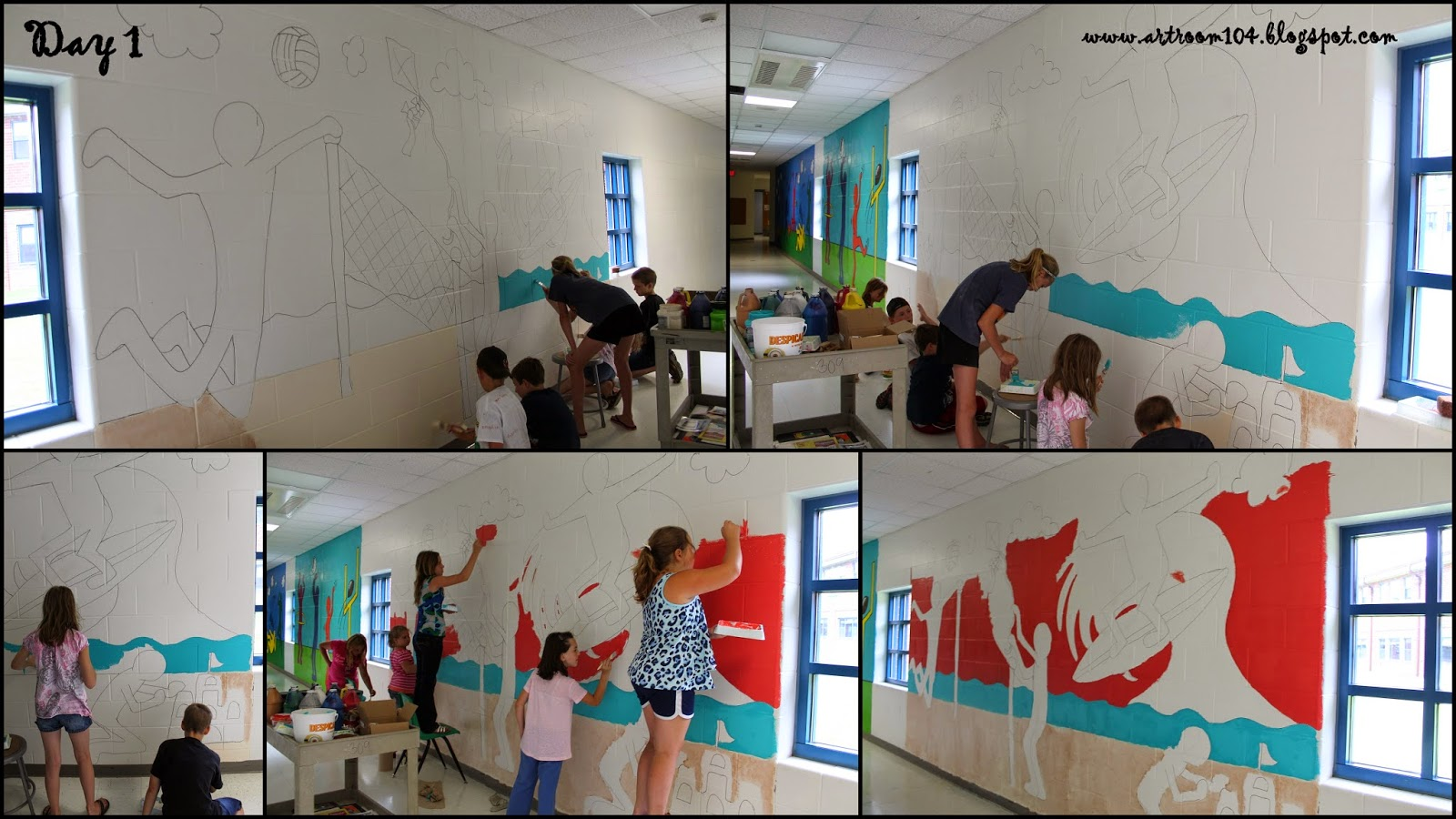 Art room 104 summer program keith haring murals for Chroma mural paint
