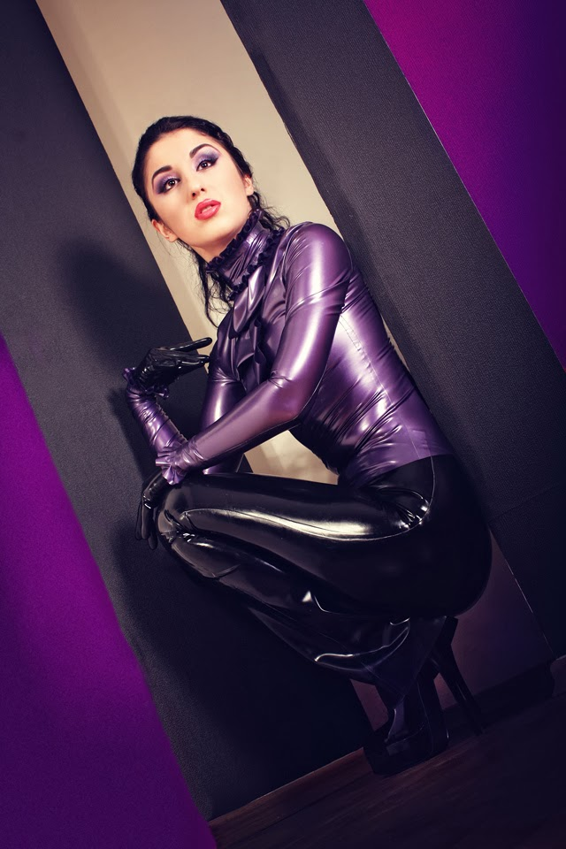 Marilyn Yusuf's Passion for Latex: Classy Purple Latex Blouse
