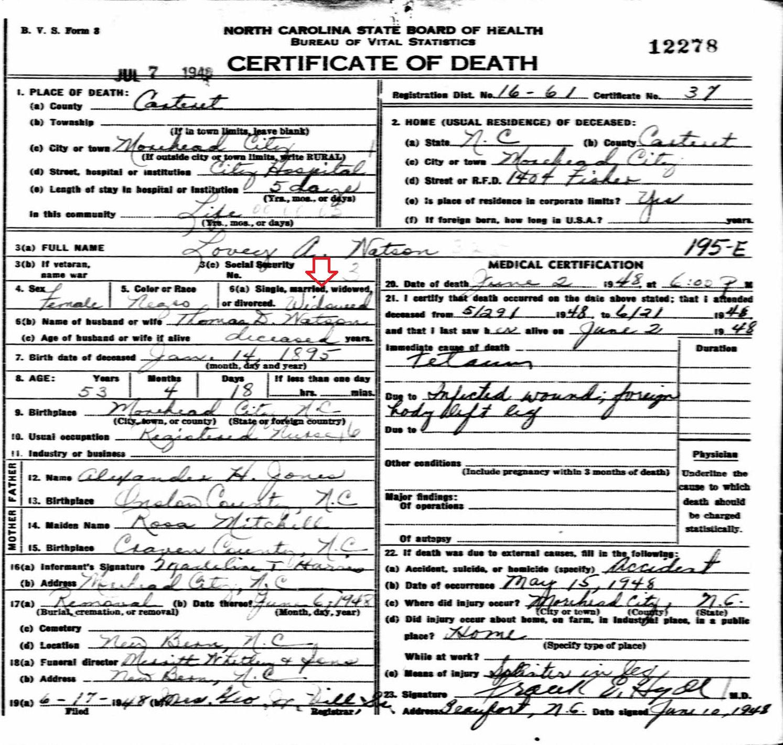 52 ancestors 2015 edition 28 lovie ann jones watson original data north carolina state board of health bureau of vital statistics north carolina death certificates 1betcityfo Images