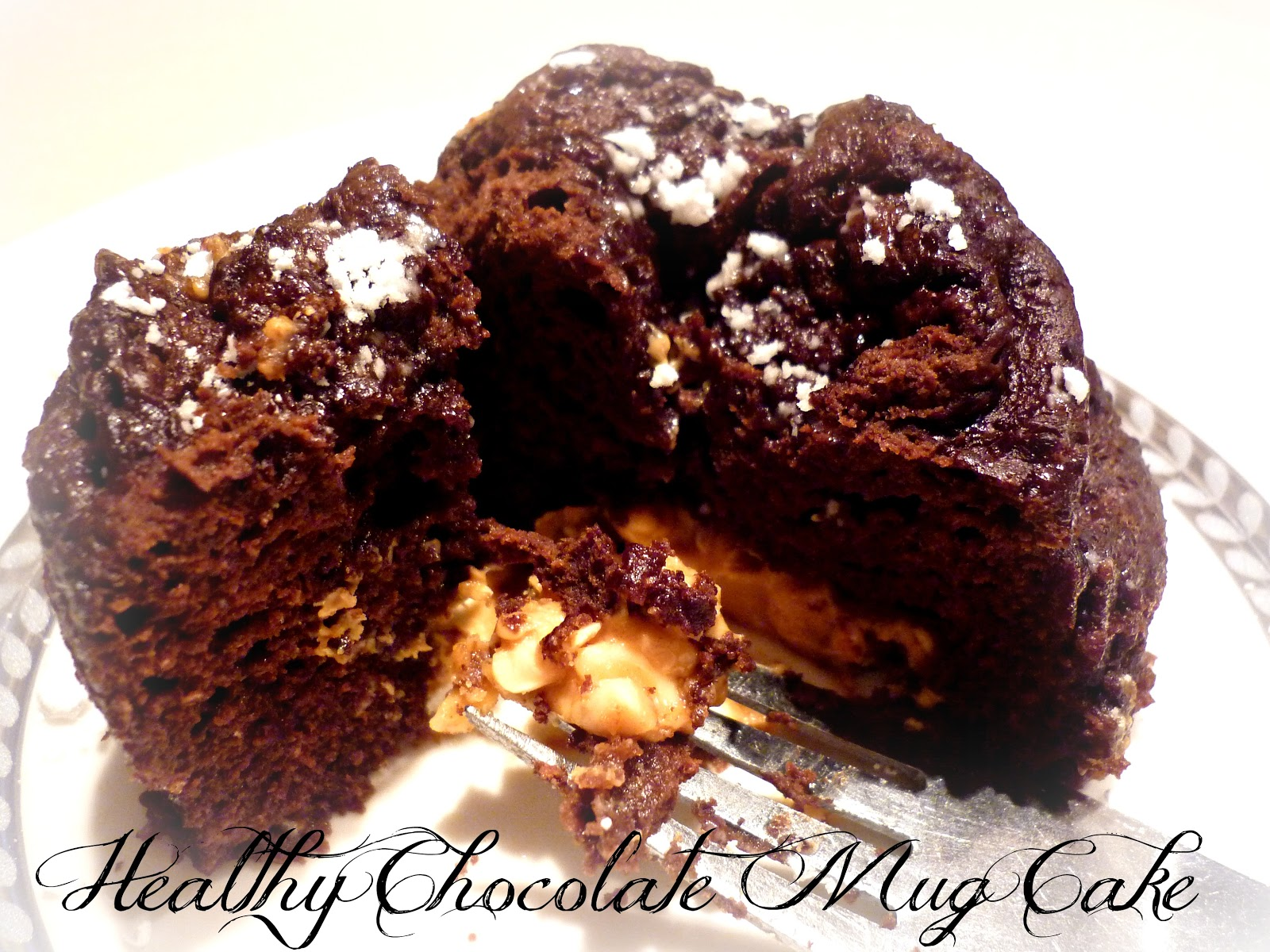 Healthy Chocolate Mug Cake with Peanut Butter Filling