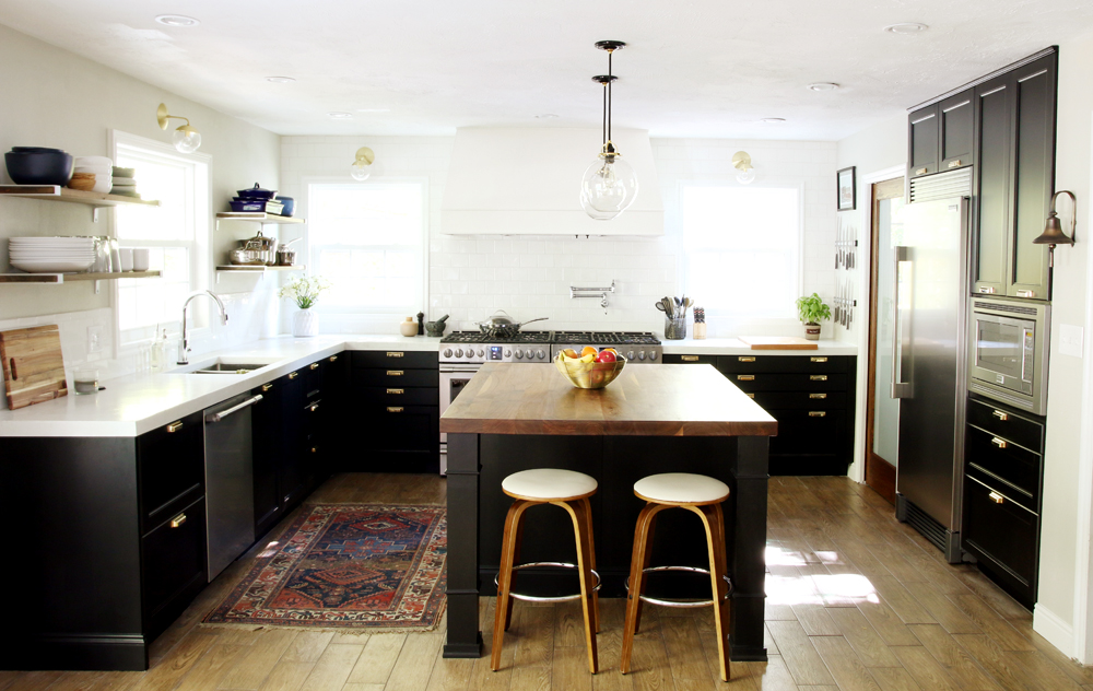 modern transitional kitchen design Ikea Rejuvenation Frigidaire black and white kitchen