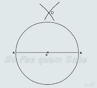 Definição do ponto D para traçar a perpendicular à reta AB