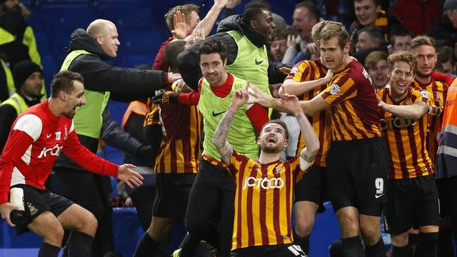 Bradford City players are ecstatic after beating Chelsea in the FA Cup