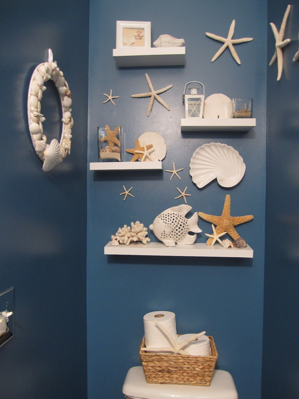 decorating with shells storage bookcase bookshelf shelf shelving baskets starfish coastal beach house ocean sea decor accessories style accessorize themed furniture stores