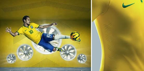 camisa do Brasil para a Copa do Mundo 2014 Nike detalhes