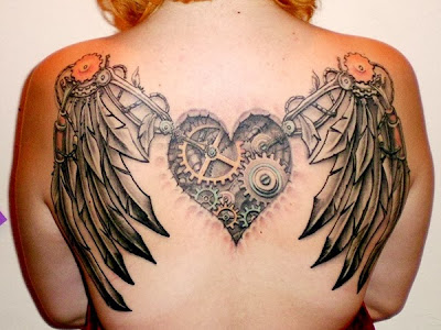 Steampunk Winged Heart Tattoo