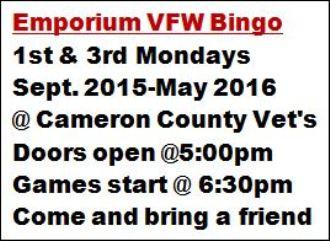 5-16 Emporium VFW Bingo