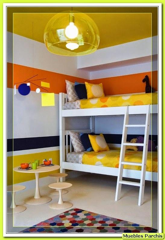 tambin podemos diferenciar sus espacios en el dormitorio compartido para nio y nia por los colores dados al mobiliario dejando un mismo tono de pared