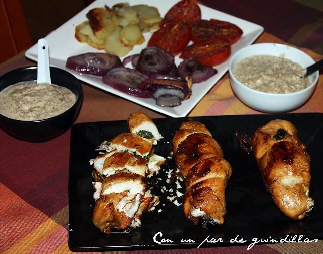 Pechuga de pollo rellena de salsa de setas
