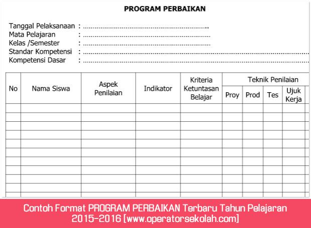 Contoh Format PROGRAM PERBAIKAN Terbaru Tahun Pelajaran 2015-2016 [www.operatorsekolah.com]