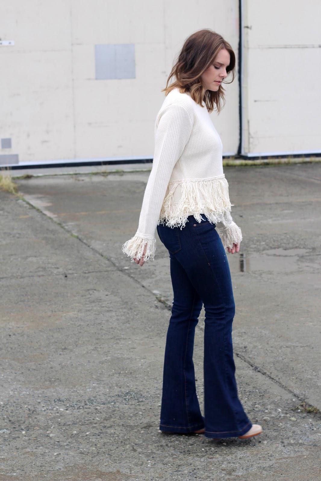 fringe sweater and flares