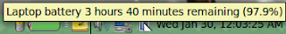 Laptop battery 3 hours 40 minutes remaining (97.9%) on LinuxMint13