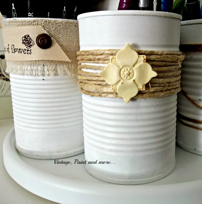 Tin Can Therapy - tin cans painte and with twine