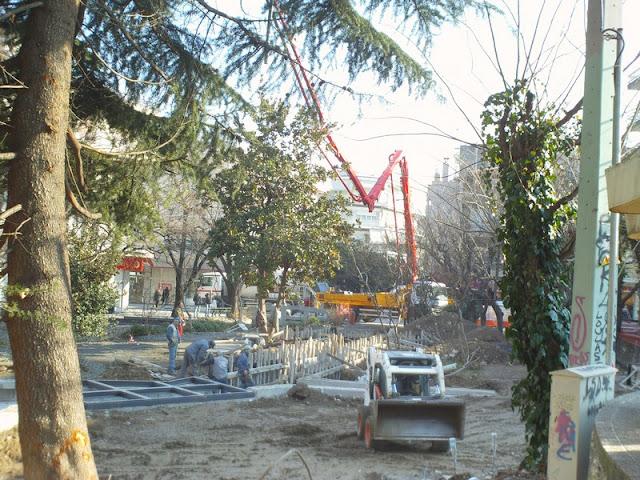 Εκατοντάδες κυβικά τσιμέντο στο πάρκο των μικρών καταρρακτών