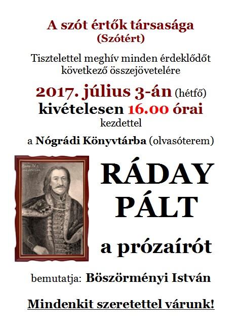 RÁDAY PÁL a prózaíró a Nógrádi Könyvtárban