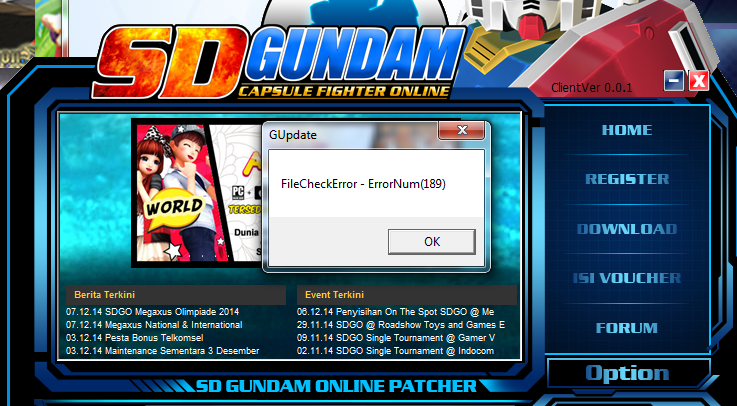 Tips: Solusi Error SD Gundam Online Megaxus (FileCheckError 189)