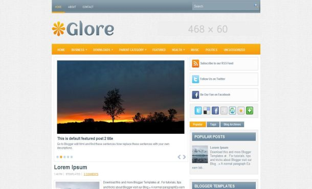 Textured Gray Orange Business Blogger Template