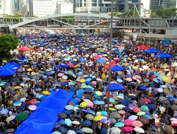 Protesters gather as part of the 'Umbrella Revolution' in Hong Kong, Oct. 1, 2014.  Photo courtesy of a witness