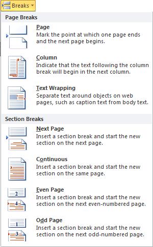 Insert section break in MS Word