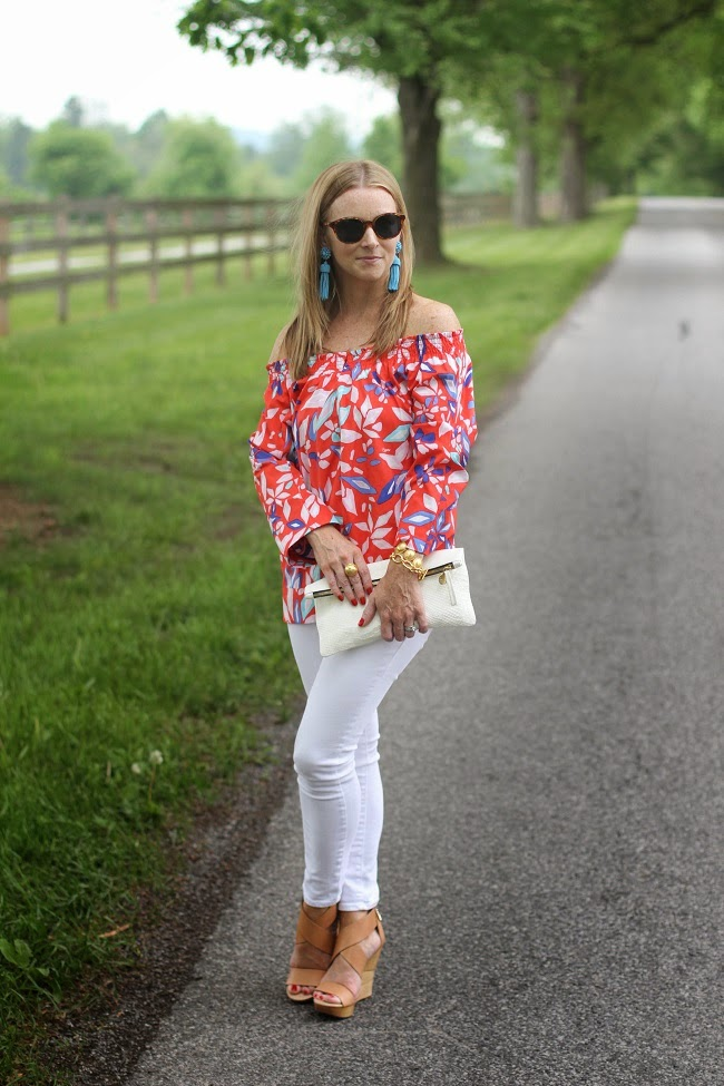 DVF off the shoulder top, pump shoes