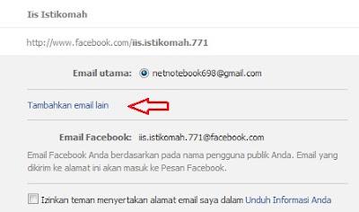 tambahkan email lain di facebook