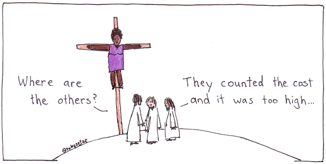 strip jesus of whiteness - presenting a queer female christ of colour. cartoon by rob g