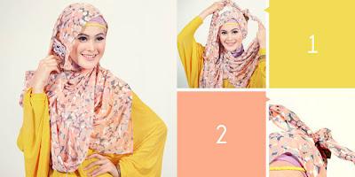 Cara memakai jilbab pashmina sifon