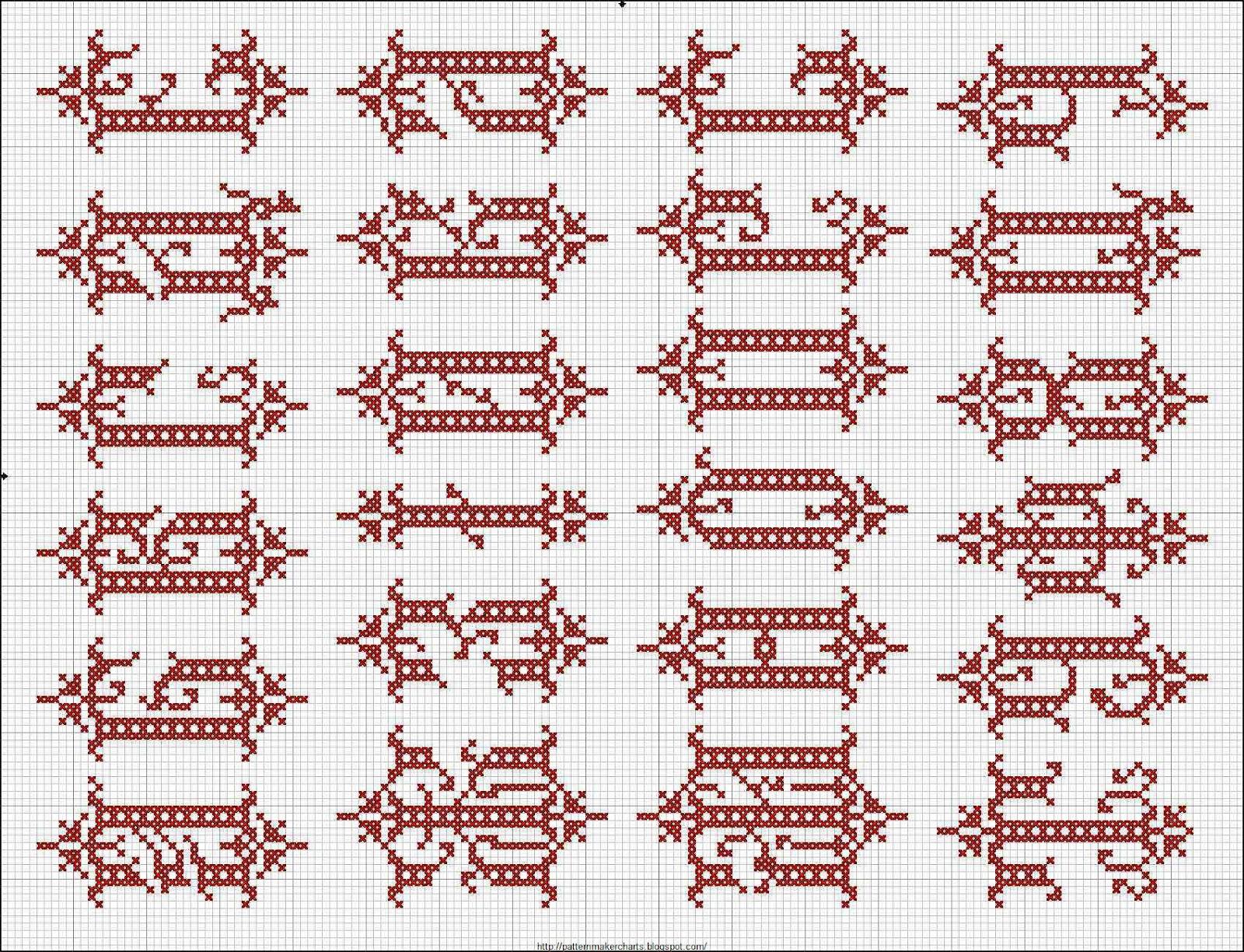 Схемы букв для браслетов