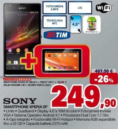 Se cercate una interessante promozione su smartphone android Sony Xperia Sp con in regalo un Tablet allora per natale quest'offerta fa per voi