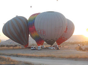 """Tuesday(22-9-2015) :- Hot air balloons being  compressed and heated for the """"Hot -Air Balloon"""" ride"""