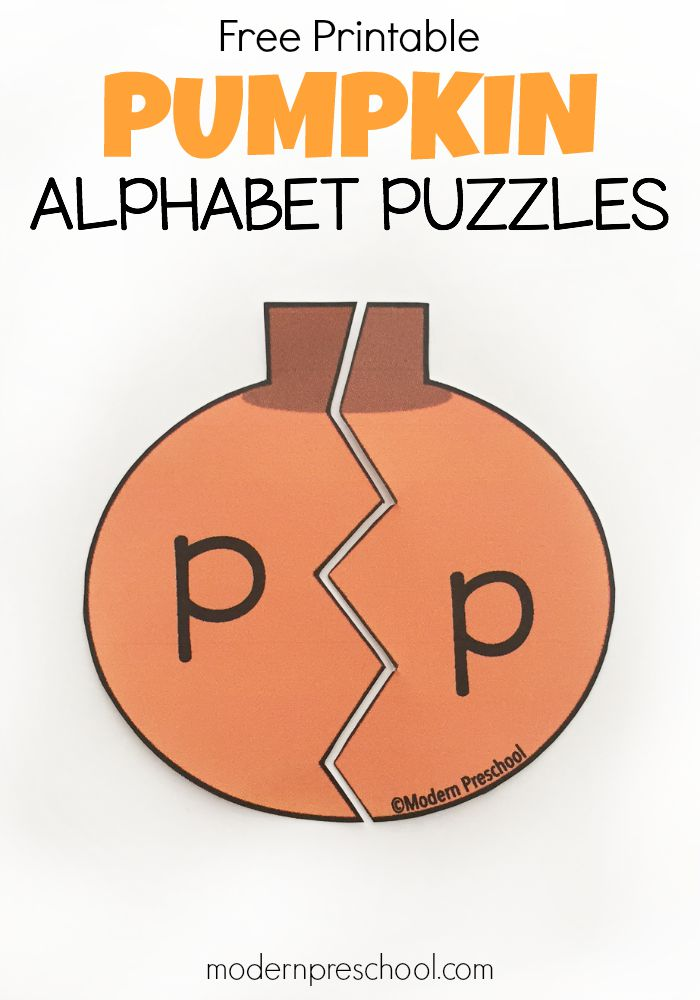 graphic about Printable Puzzles for Preschoolers named Pumpkin Alphabet Puzzles