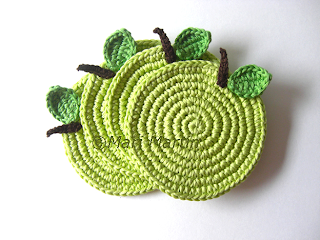 Crochet Coasters Green Apple