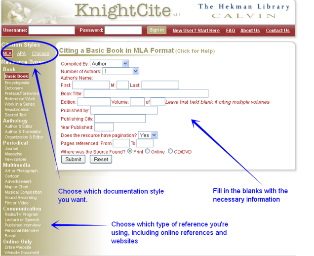 calvin college knight cite This youtube video by college writing instructor and consultant david peak takes you through the steps of formatting a paper in apa style using microsoft word software knightcite citation generator through calvin college.