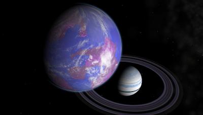 saturno y el planeta tierra juntos