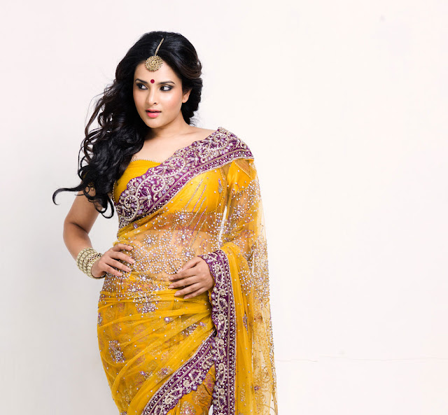 ramya yellow saree actress pics