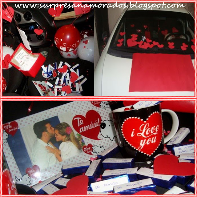 surpresa romântica no carro do namorado com chocolates BIS