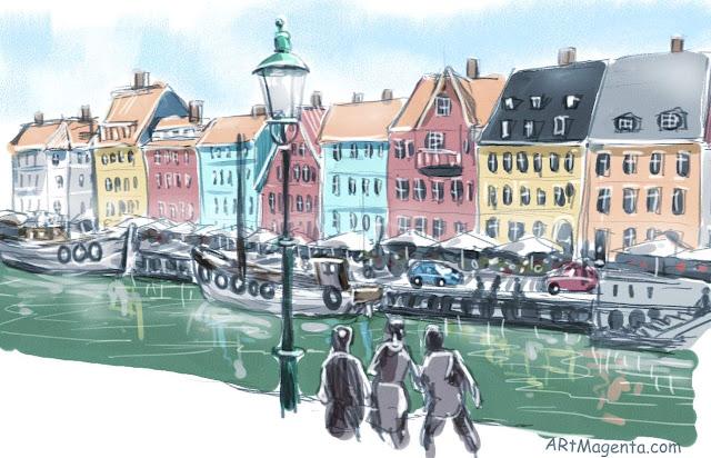 Nyhavn, Copenhagen. Urban sketch by Artmagenta.