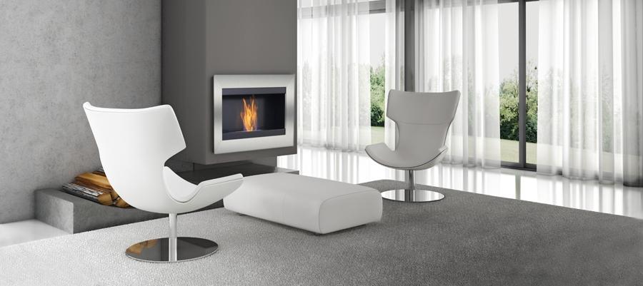 Dormitorio con chimenea de bioetanol y amplias vistas al for Chimeneas de obra modernas