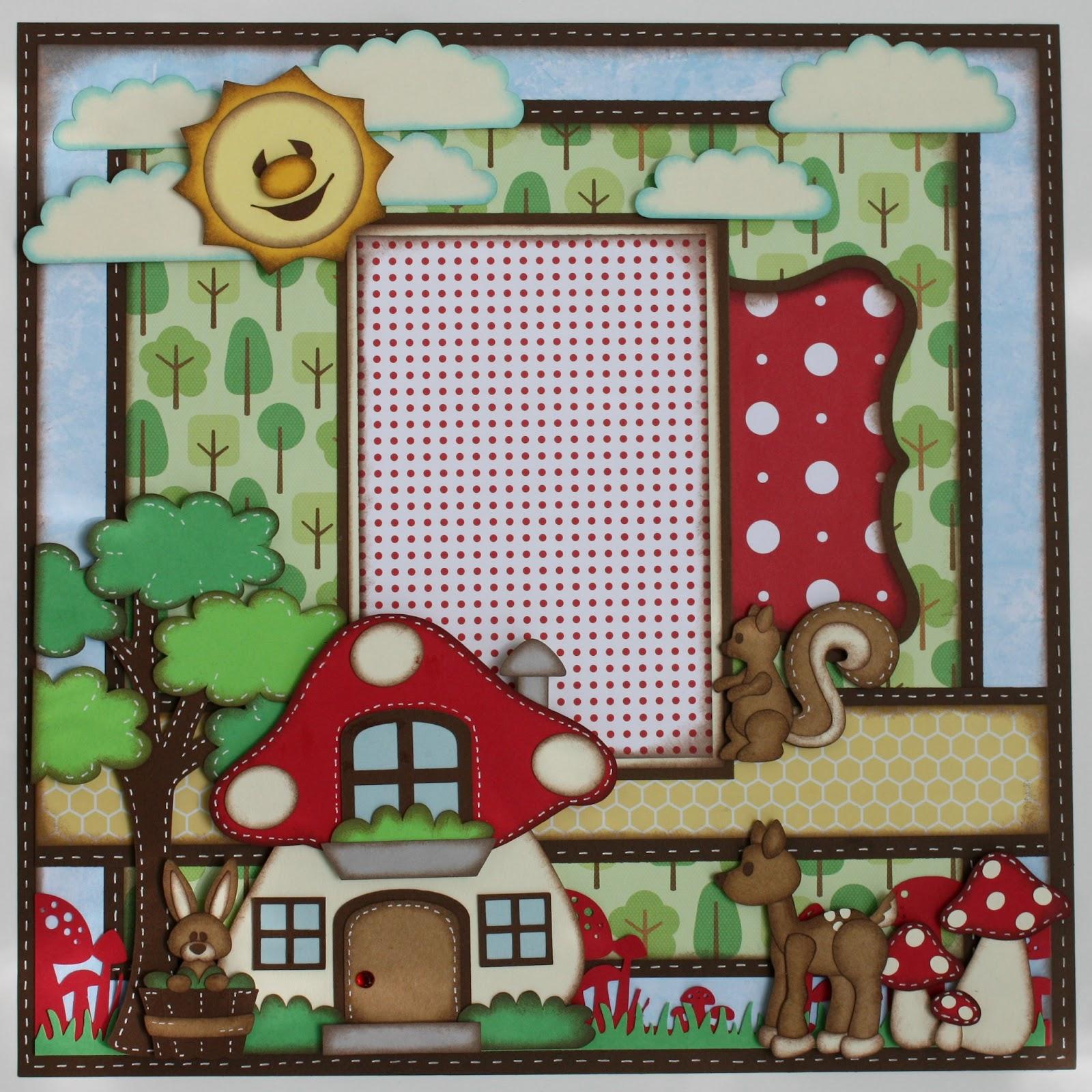 Scrapbook ideas and designs - Mushroom House 12x12 Single Scrapbook Page Layout