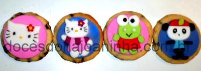 Cookies decorados Hello Kitty e sua turma de amiguinhos
